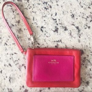 COACH Color Block Red Pink Leather Wristlet